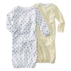 Elastic bottom gowns, easy diaper access, built in hand coverings.