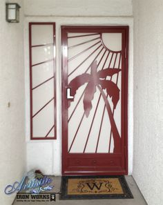 Sandy Beaches - Wrought Iron Security Screen Door with window guard - Model: SD0196