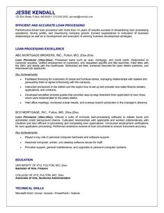 mortgage loan processor resume example - Sample Cv Resume