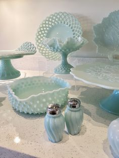 Fenton's 'Green Pastel' color milk glass Patterns shown here include Fenton Hobnail, Swirl, Daisy Button, Lacy Edge and Leaf. Fenton Glassware, Fenton Milk Glass, Antique Glassware, Vintage Dishware, Vintage Dishes, Green Milk Glass, Antique Dishes, Carnival Glass, Glass Collection