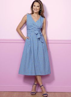 The perfect dress for spring and summer, for play, weddings, bridesmaids' and more.  Butterick sewing pattern B6446 Misses' Pleated Wrap Dresses with Sash