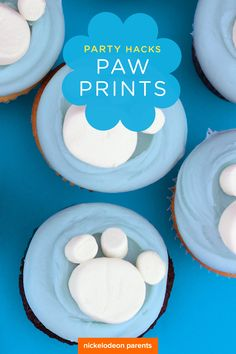 Leave a PAW print at your little one's party using marshmallows and store-bought or homemade cupcakes to make blue PAW Patrol Paw print cupcakes! The perfect dessert for a preschooler's PAW Patrol birthday party.