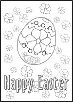 Decorated egg and flowers printable coloring card