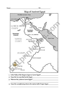 Map Of Ancient Egypt Worksheet For Kids Grades 1 6 Student