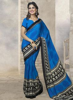 Blue Color Crepe Casual Sarees : Meera Collection YF-22600