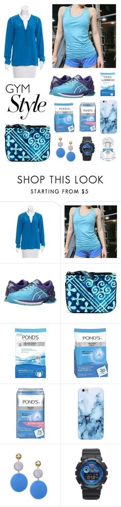 """Work It Out"" by dalili ❤ liked on Polyvore featuring Veronica Beard, Asics, Vera Bradley, POND'S, Elizabeth and James, G-Shock, Vince Camuto and gymessentials"