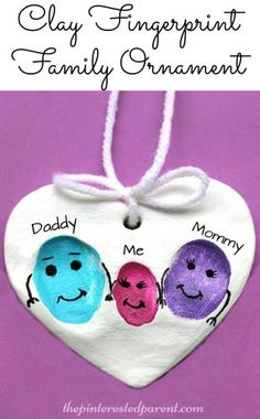Clay Family Fingerprint Ornaments - a sweet and easy arts & craft idea and keepsake gift from kids. preschoolers salt dough ideas