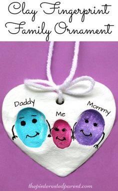 Clay Family Fingerprint Ornaments - a sweet and easy arts & craft idea and keepsake gift from kids. preschoolers salt dough ideas
