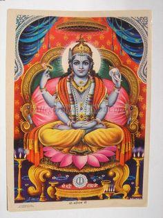 India Old Art Print LORD VISHNU as BADRINATHJI 35551 picclick.com