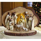 Lighted Woodland Nativity Scene Sculpture