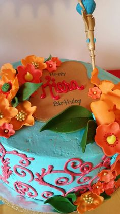 This cake is just beautiful for an Elena of Avalor princess birthday party.