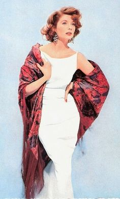 Suzy Parker wearing a white fitted dress with shawl, 1950s. www.foreveryminute.com Luxury Silk Lounge and Sleepwear