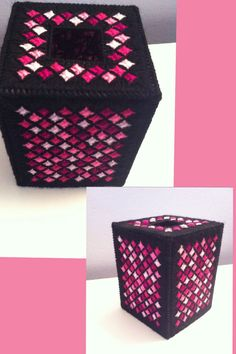 Plastic canvas tissue box- black and pink stain glass