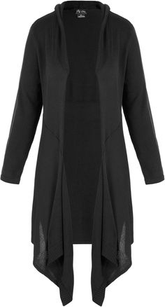 City Chic Longline Pleather Trim Cardi
