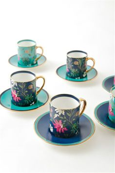 Goodearth - Nishaat Demitasse (Set of Linen Bedroom, Tea Service, Home Fragrances, Beautiful Hands, Cup And Saucer, Tea Cups, Entertaining, Luxury, Stylish