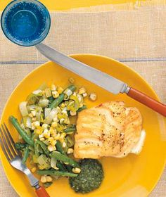 Cod With Beans, Corn, and Pesto from realsimple.com #myplate #protein #vegetables