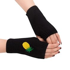 Lotusflower Women Girl Weave Knitted Arm Fingerless Gloves Winter Warmer Mittens Black * Details can be found by clicking on the image. (This is an affiliate link)