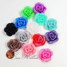32mm 12pc Faux Rhinestone AB Color Flower Flatback Resin Cabochon  - 14 Colors
