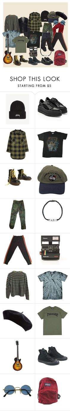 """aesthetic i want but is too broke to get: retro boi"" by olean on Polyvore featuring Stussy, Puma, H&M, Junk Food Clothing, Yellow Jacket, Venessa Arizaga, Gucci, Polaroid, Prada and Converse"