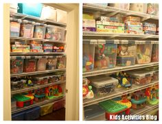 Toys Toys Toys {How to Organize} - Kids Activities toy toy product toy Toy Room Organization, Organizing Toys, Kid Toy Storage, Game Storage, Storage Ideas, Kid Closet, Playroom Closet, Toy Rooms, Kid Spaces