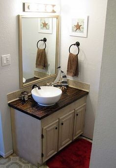 Update a an existing vanity.  Love the vessel sink and countertops.