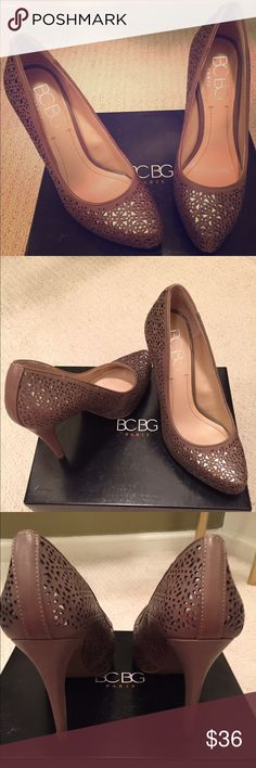 """✨Host Pick✨ BCBG Paris Platform Pumps Worn once, excellent condition. Only visible wear is on bottom of shoe (as seen in photo). Made of Faux leather and has all over cutout detailing. Pointed toe with 1 1/2"""" platform and 4"""" covered heel. Shoes cleaned and sanitized. Comes with original box. BCBGMaxAzria Shoes Heels"""