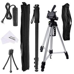 """Neewer Monopod & Tripod Accessory Bundle Kit for Canon EOS Rebel T4i, T3i, T2i, T1i, Canon EOS 60D Digital SLR Cameras, Kit Includes: (1)Adjustable 21""""- 67""""/ 53cm - 170cm Alluminium Alloy Monopod with Carrying Bag + (1)67""""/170cm Professional Photo & Video Tripod Stand with Carrying Bag + (1)Shutter Release Remote Control Replacement for Canon RS-60E3 + (1)5.7-8""""/14.5-21cm Adjustable Mini Tripod + (1)Microfiber Cleaning Cloth Neewer…"""