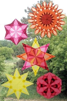 4 Color Waldorf Window Star in Yellow Pink door harvestmoonbyhand