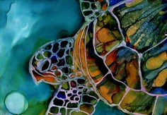 Magical Turtle 3 Original Alcohol Inks on Yupo by kauaiartist, $35.00