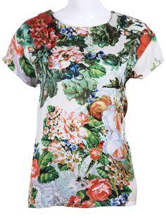 White Short Sleeve Painting Print Loose T-Shirt - Sheinside.com