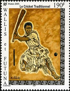 Pictured is a postage stamp of kilikiti or Samoan cricket. The game is played in Tuvalu, national sport of Samoa and also popular in New Zealand.  The Samoans say that they invented the game of cricket. The Samoan version of the game, kirikiti, is one long party, with teams of twenty or more per side usually between villages, matches lasting several days, and generous catering provided by the host village.Kirikiti bears only a passing resemblance to cricket played elsewhere.