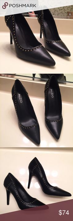 NEW black Aldo heels with golden pin studs size 8 Brand new, never worn and still with tags. Gorgeous heels!! Lined with tiny golden pin dot studs. Women's size 8 ALDO Shoes Heels