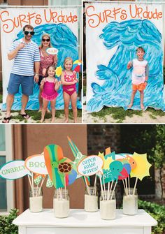 Love this DIY painted wave photo booth backdrop
