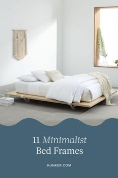 Here are 11 minimalist beds that offer a soothing escape. #hunkerhome #minimalistbedframe #minimalistbedroom #minimalistbedframeideas Minimalist Bed Frame, Minimalist Bedroom, Minimalist Decor, Minimalist Design, Unmade Bed, Linen Comforter, Steel Bed Frame, White Duvet, Free Fabric Swatches