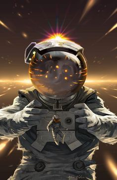 Alone to Reflect, by Farkwhad [Digital Art] Space Illustration, Digital Illustration, Interstellar, Cosmos, Rollup Design, Space Cowboys, Astronauts In Space, Retro Wallpaper, Star Wallpaper