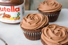 I would top my cupcakes with a hazelnut buttercream and salted nuts. Nutella Cupcakes, Let Them Eat Cake, Baking Recipes, Nom Nom, Sweets, Cookies, Desserts, Products, Chocolate Icing