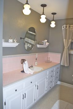 Pink Tile Bathroom, I am def going to implement these ideas to my new home with retro pink bathroom tiles!
