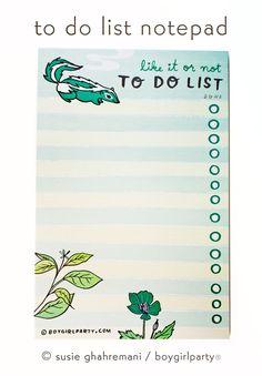 Skunk To Do List Notepad by Susie Ghahremani / boygirlparty.com | the boygirlparty shop: https://shop.boygirlparty.com/