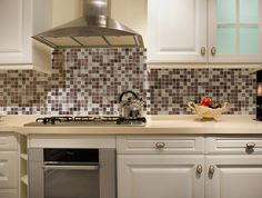 Do it yourself backsplash kit - No cement, no messy powders to mix, just  peel the protective film from the back of the glass, stick the mosaic onto