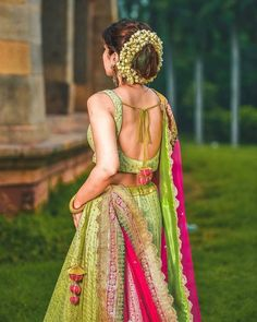 Are you bored of seeing those same reds and pinks lehenga design and are looking for something unique and something off-beat? Then Lime green lehenga design is all set to amuse you with its beauty! Muslim Wedding Dresses, Indian Wedding Outfits, Bridal Outfits, Indian Outfits, Half Saree Designs, Bridal Blouse Designs, Blouse Designs Lehenga, Blouse For Lehenga, Best Lehenga Designs