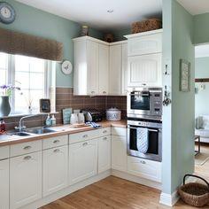 Eau de nil kitchen paint! kitchen   Leigh's seaside-style house tour   New England house tour   Modern house tour   Style at Home   Housetohome