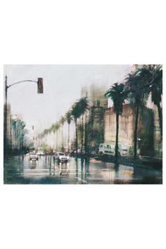 "Aldo Luongo's ""Rainy Day Wilshire Blvd"" Hand Embellished Multiple Original on Canvas - 25"" x 33"" on HauteLook"
