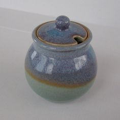 Vintage Art Pottery Sugar Bowl blue purple glaze