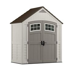 Suncast x Cascade Storage Shed - Natural Wood-like Outdoor Storage for Power Equipment and Yard Tools - All-Weather Resin Material, Transom Windows and Shingle Style Roof, Vanilla with Slate accents, Outdoor Garden Sheds, Outdoor Storage Sheds, Shed Storage, Garage Storage, Storage Ideas, Transom Windows, Windows And Doors, Garbage Shed, Home Depot Shed
