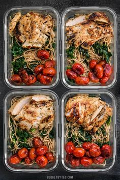 This Garlic Parmesan Kale Pasta Meal Prep includes Garlic Marinated Chicken and brightly flavored blistered tomatoes for a well rounded and delicious meal!