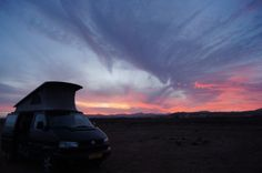 Freedom: campsite under the Red Sky of Playa Barca Fuerteventura with our VW Syncro  ☆☆ 2013