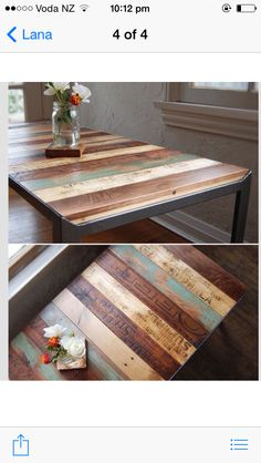 Table - steel frame with recycled wood
