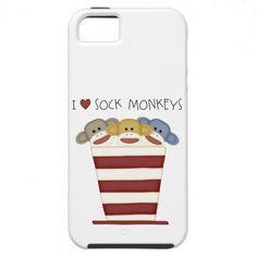 I LOVE Sock Monkey I  Phone 5 case iPhone 5 Cover