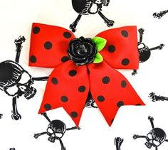 Pinup Black Rose Polka Dot Hair Bow  Red by PunkUpBettie on Etsy