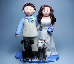 White Ivory Blue Wedding Cake Topper OMG yes! Can we fit 1 more dog and 2 cats on top of this?!?